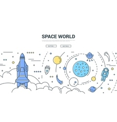 Space world horizontal linear concept vector