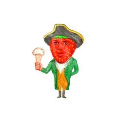 Strawberry Tricorn Hat Ice Cream Victorian vector image