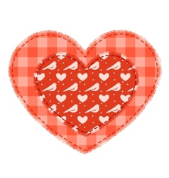 Two red patchwork hearts vector image vector image