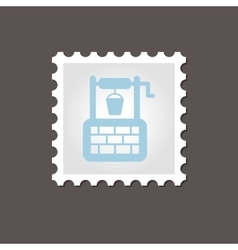 Water well stamp outline vector