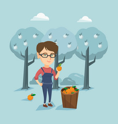 Young caucasian farmer collecting oranges vector