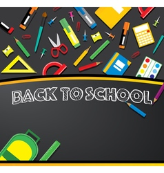 School supplies on blackboard vector