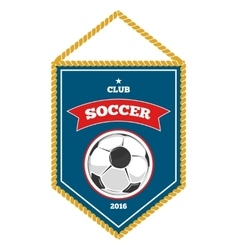Blue soccer pennant isolated white vector