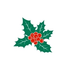 Colorful christmas holly berry isolated on white vector