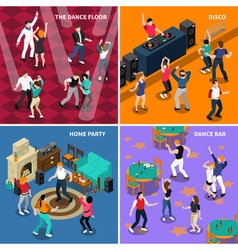 Dancing people 4 isometric icons square vector