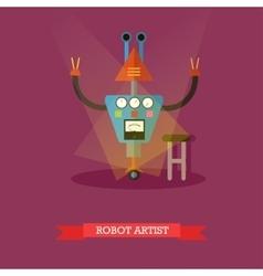 Robot artist flat design vector