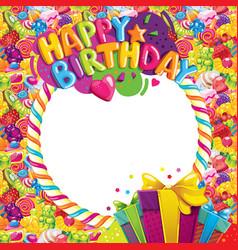 Happy birthday color frame vector