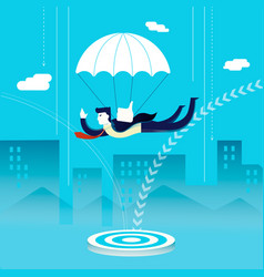 Business man investor skydiving concept vector