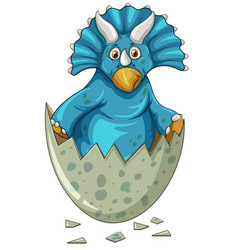 Blue dinosaur in gray egg vector