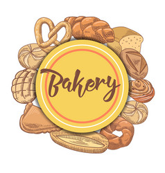 Bakery hand drawn background with bread and loaf vector