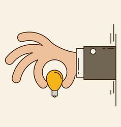 Cartoon businessman hand holding idea light bulb vector