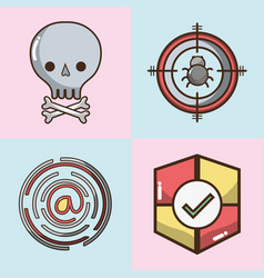 Set technology elements with apps icons vector