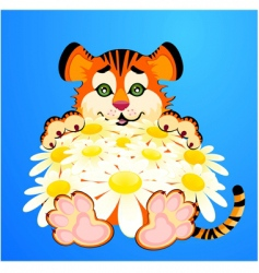 Tiger with flowers vector