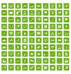 100 data exchange icons set grunge green vector