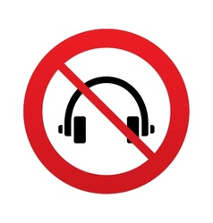 Dont use headphones sign icon earphones button vector