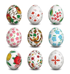 Set of isolated easter eggs vector