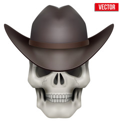 Human skull with cowboy hat on head vector image