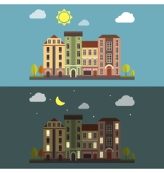 Day and night cityscape landscape vector