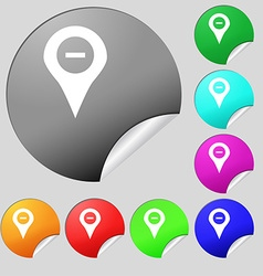 Minus map pointer gps location icon sign set of vector