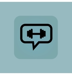 Pale blue barbell message icon vector