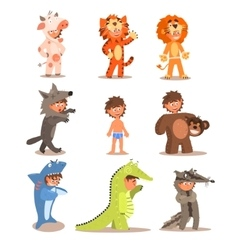 Little boys wearing animal costumes set vector
