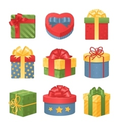 Colorful 3d gift boxes with bows and ribbons vector