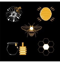 Honey icons set with beehive wax cell flying bee vector