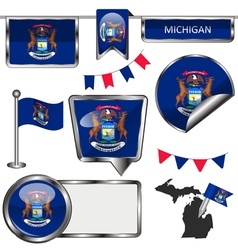 Glossy icons with Michigander flag vector image