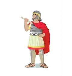 Roman warrior with red cape vector