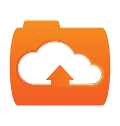 Orange folder icon with the image of white clouds vector