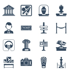 Museum flat black icon set vector