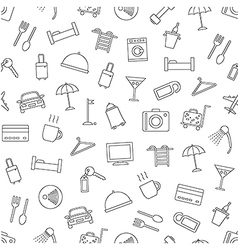 Hotel services pattern black icons vector