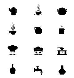 Black Icon Set kitchen vector image