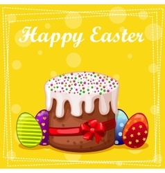 Card easter cake and eggs vector