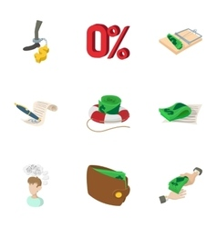 Cash icons set cartoon style vector