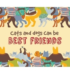 Cats and dogs pets friends hugs frame border card vector image vector image