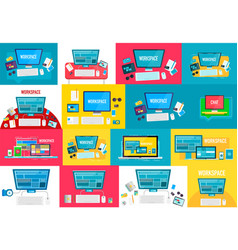 collection of workspace concepts modern vector image vector image