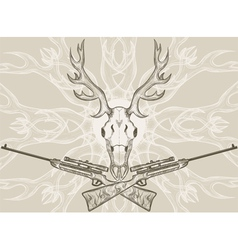 Deer skull and crossed rifles vector image