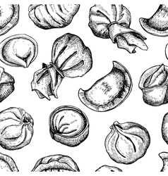 Dumplings pattern vintage sketch vector