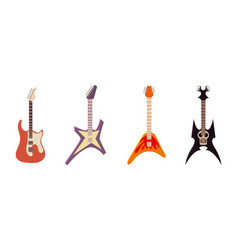 electric guitar icon set cartoon style vector image