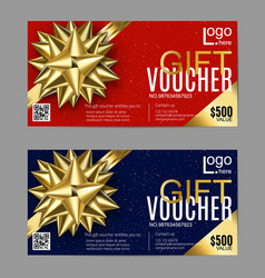 gift card layout template with golden bow ribbon vector image vector image