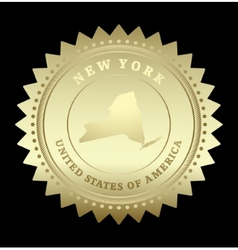 Gold star label new york vector
