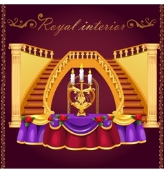 Golden staircase and table with candlestick vector