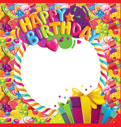 Happy birthday color frame vector