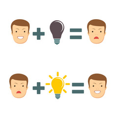 ideas and solutions makes you smile or sad vector image vector image