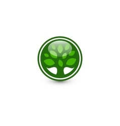 Isolated abstract green color round shape tree vector image vector image