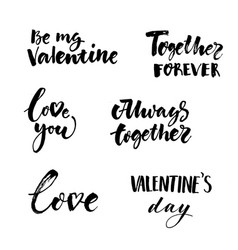 Love and valentines day inscriptions collection vector