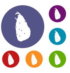 map of sri lanka icons set vector image vector image