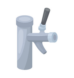 metal faucet for dispensing cold kvass and beer in vector image
