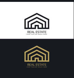 Minimal line style real estate logo design vector
